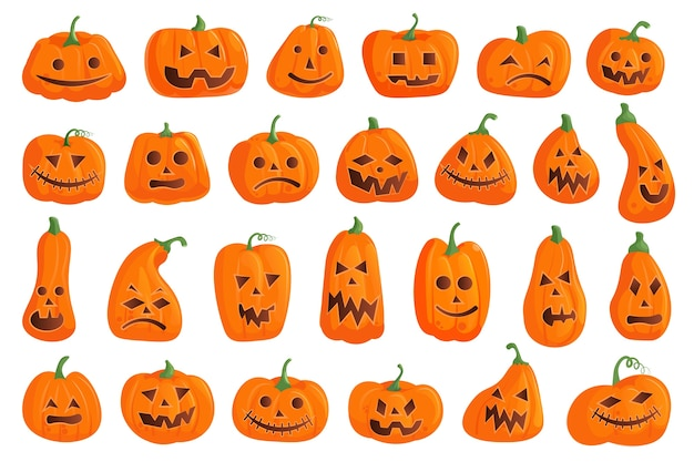 Conjunto de abóbora de halloween