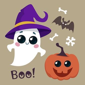 Conjunto de abóbora e fantasma um fantasma fofo com morcegos e ossos de sorriso ilustração em vetor de halloween