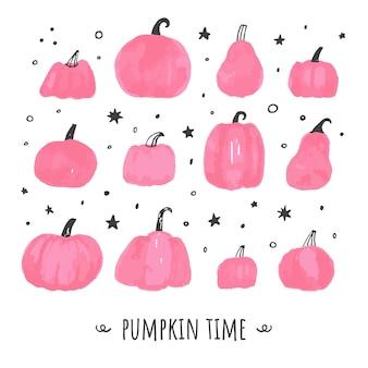 Conjunto de abóbora rosa grunge bonito. feliz dia das bruxas e símbolos de tempo de ação de graças, vetor de tempo rosa outono definido em branco