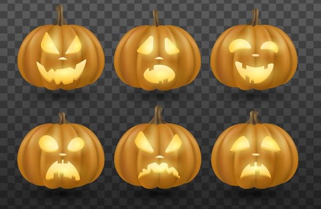 Conjunto de abóboras 3d emocionais de desenho vetorial com olhos brilhantes, isolado em um fundo escuro e transparente para o feriado de halloween. rostos diferentes dos personagens