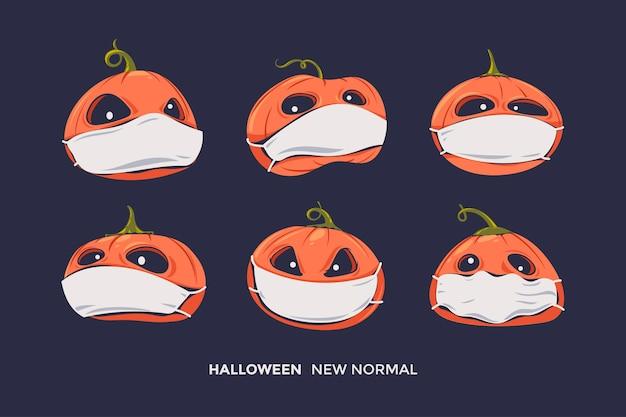 Conjunto de abóboras assustadoras de halloween com expressão e máscara de saúde para pandemia de vírus corona de protocolo saudável