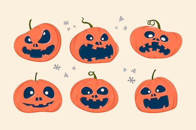 Conjunto de abóboras assustadoras de halloween com expressão