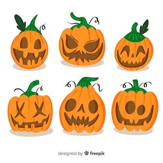 Conjunto de abóboras assustadoras de halloween