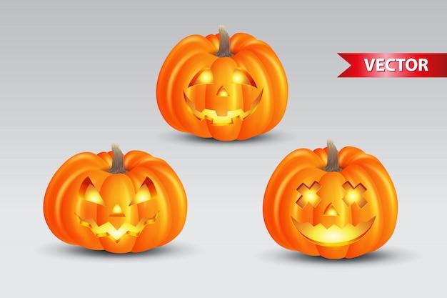 Conjunto de abóboras assustadoras em fundo branco. adequado para plano de fundo, cartaz, banner e folheto de halloween