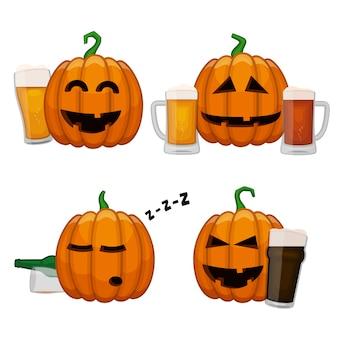 Conjunto de abóboras bêbadas. feliz dia das bruxas abóboras com copos de cerveja. todos os santos véspera cerveja festa cartaz.