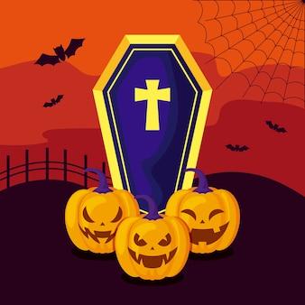 Conjunto de abóboras com caixão na cena halloween