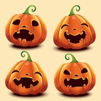 Conjunto de abóboras com rostos diferentes para o halloween. ilustração vetorial. isolado.