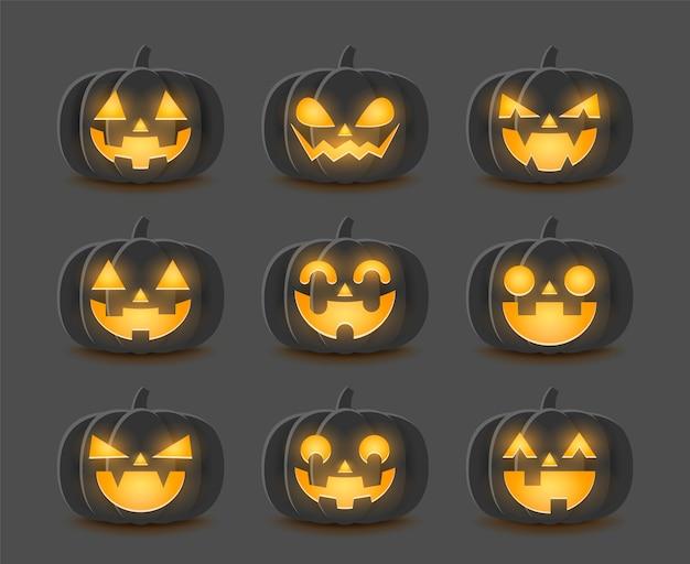 Conjunto de abóboras de halloween de desenho animado.