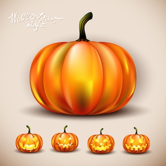 Conjunto de abóboras de halloween de vetor com olhos e inteiramente