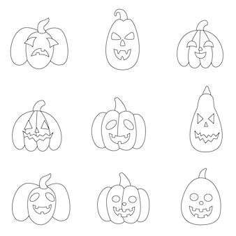 Conjunto de abóboras de halloween em preto e branco. página para colorir para crianças.