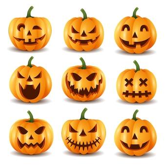 Conjunto de abóboras de halloween, ilustração engraçada faces.vector