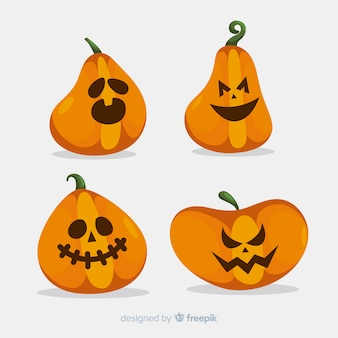 Conjunto de abóboras de halloween plana