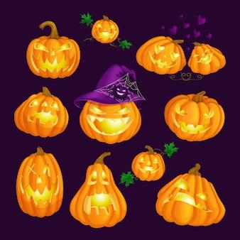 Conjunto de abóboras de halloween.