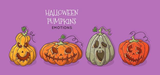 Conjunto de abóboras decoradas para o halloween