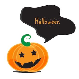 Conjunto de abóboras emocionais de halloween. modelo de banner. vetor
