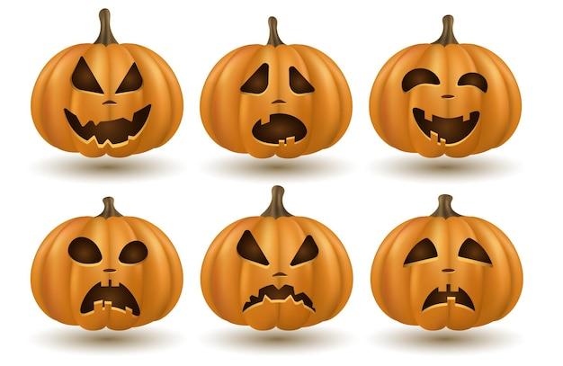 Conjunto de abóboras emocionais dos desenhos animados 3d, isolado no fundo branco para o feriado de halloween. abóbora laranja com sorriso. rostos diferentes dos personagens. ilustração vetorial. eps 10