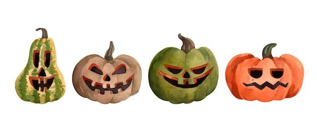 Conjunto de abóboras lanterna de halloween em aquarela
