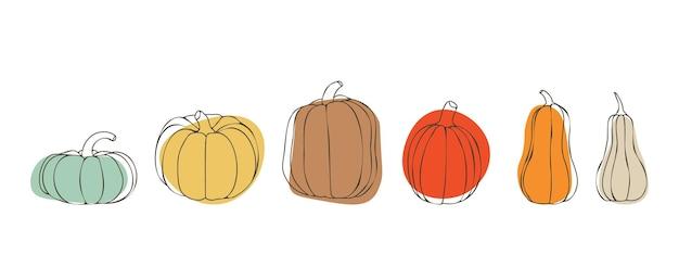Conjunto de abóboras para o dia de ação de graças ou dia das bruxas abóboras em vários tamanhos e cores