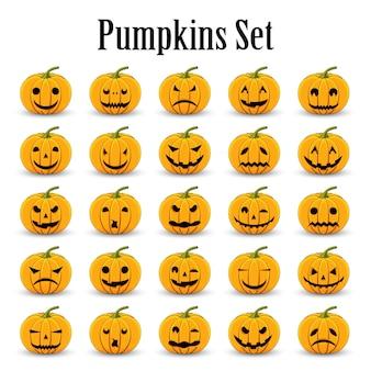 Conjunto de abóboras para o halloween em um fundo branco isolado