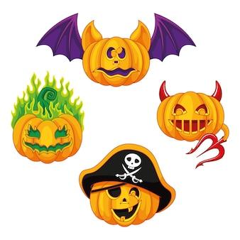 Conjunto de abóboras para o halloween. ilustração vetorial de desenho animado