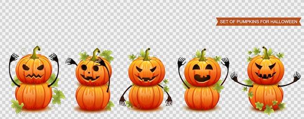 Conjunto de abóboras para o halloween. ilustração