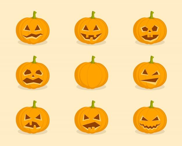 Conjunto de abóboras para o halloween