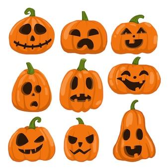 Conjunto de abóboras para objeto de halloween, ícones,