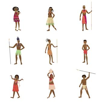 Conjunto de aborígene africano, homem e mulher em roupas tradicionais
