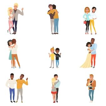 Conjunto de abraçar pessoas em poses diferentes. irmãs, irmãos, casais apaixonados, amigos, pai e filho. personagens de desenhos animados com carinhas felizes. design plano