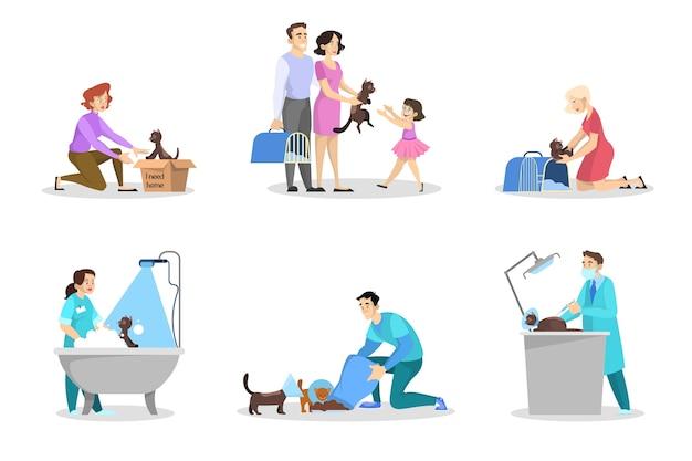 Conjunto de abrigo de animais. gato sem teto na caixa. ideia de animal de estimação