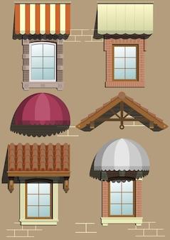 Conjunto de abrigos diferentes para a fachada em gráficos vetoriais.