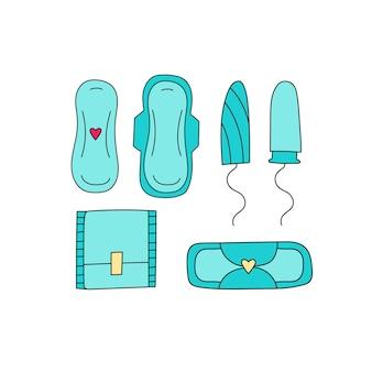 Conjunto de absorventes higiênicos e absorventes higiênicos femininos de produtos desenhados à mão