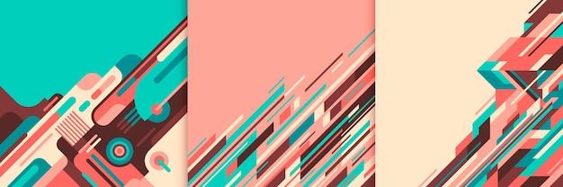 Conjunto de abstrações geométricas coloridas.