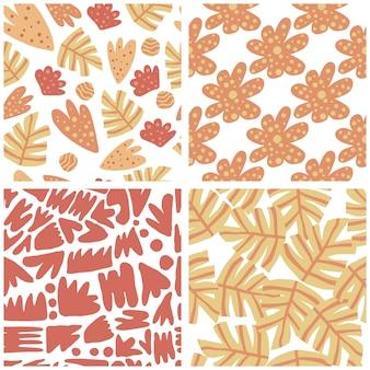 Conjunto de abstrata moderna deixa padrão sem emenda. mão desenhar papel de parede floral