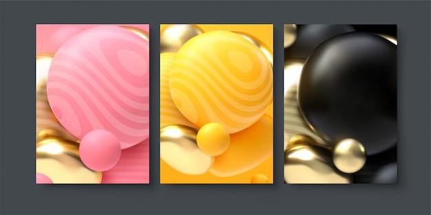 Conjunto de abstrato com formas de pano enrolado.