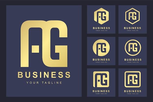 Conjunto de abstrato inicial letra ag, modelo de logotipo dourado.