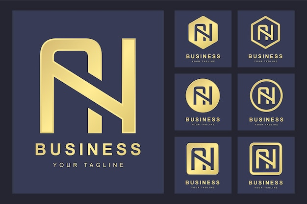 Conjunto de abstrato letra inicial an, modelo de logotipo dourado.