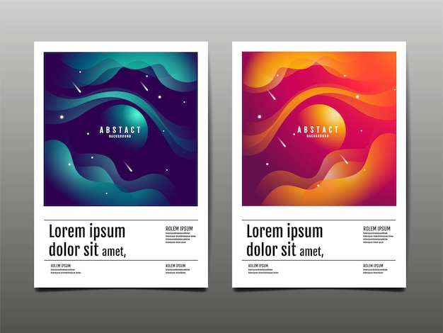 Conjunto de abstrato, líquido, design de textura, fluido, layout de modelo