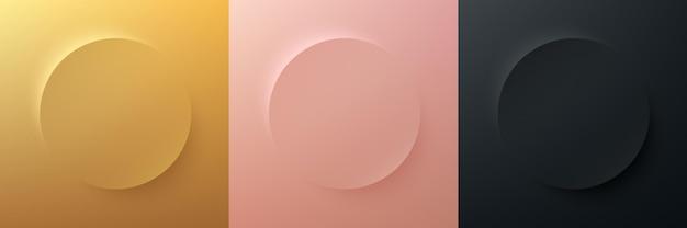 Conjunto de abstrato ouro rosa ouro preto 3d luxo círculo design de moldura