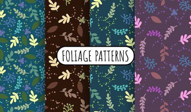 Conjunto de abstratos folhas e ervas retrô padrões sem emenda.