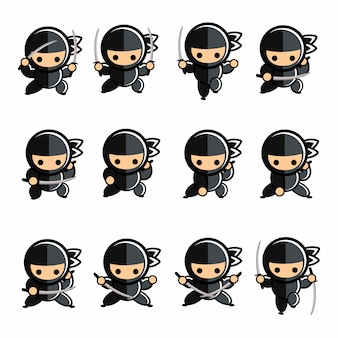 Conjunto de ação ninja preto pequeno dos desenhos animados