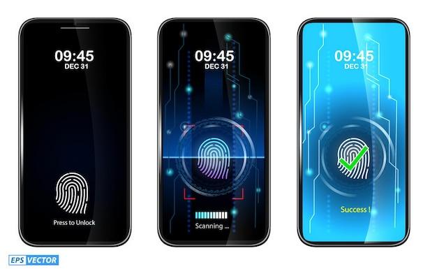 Conjunto de acesso de digitalização de dedo realista no celular ou digitalização de dedo no smartphone
