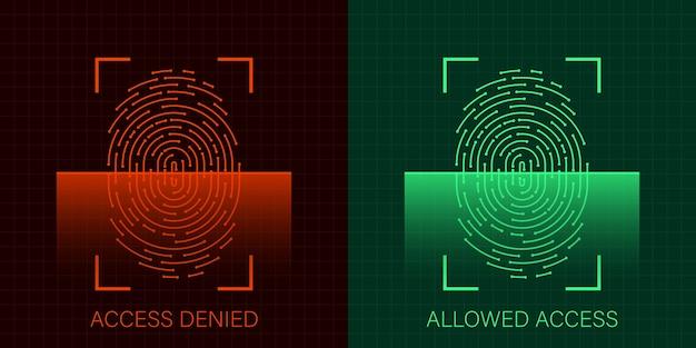 Conjunto de acesso permitido e negado por impressão digital