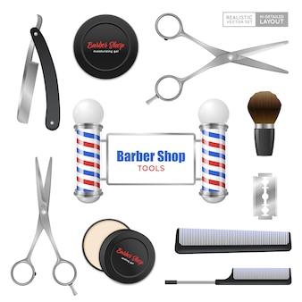 Conjunto de acessórios de barbearia realista
