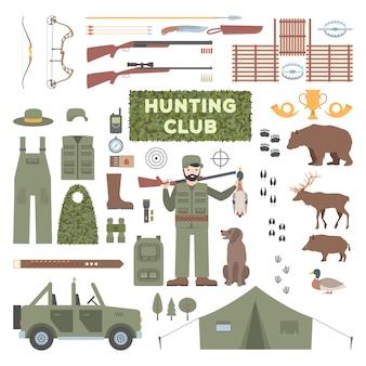 Conjunto de acessórios de caça.