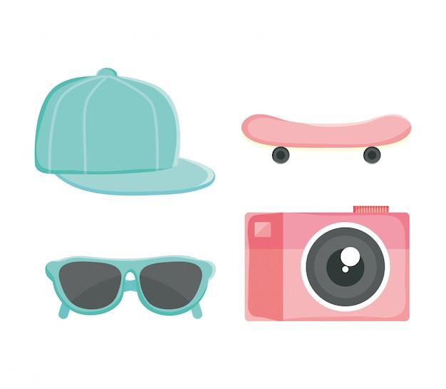 Conjunto de acessórios de cultura jovem: chapéu, skate, óculos de sol, câmera