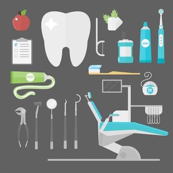 Conjunto de acessórios de dentista de cuidados de saúde plana