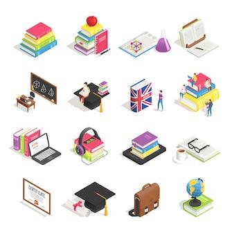 Conjunto de acessórios de educação universitária isométrica