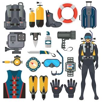 Conjunto de acessórios de equipamento de mergulho