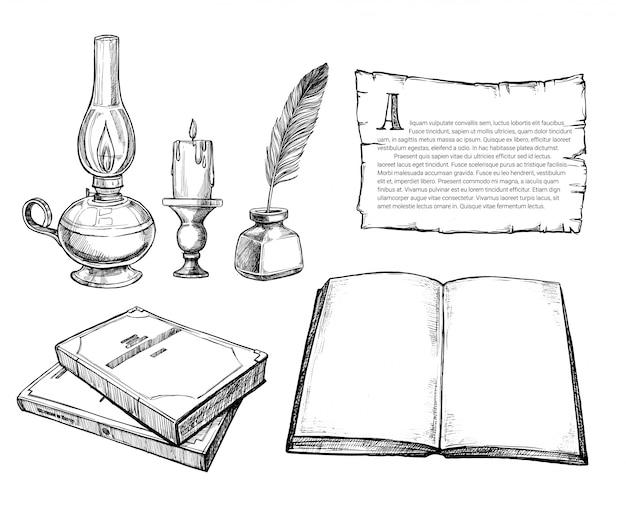 Conjunto de acessórios de escrita retrô